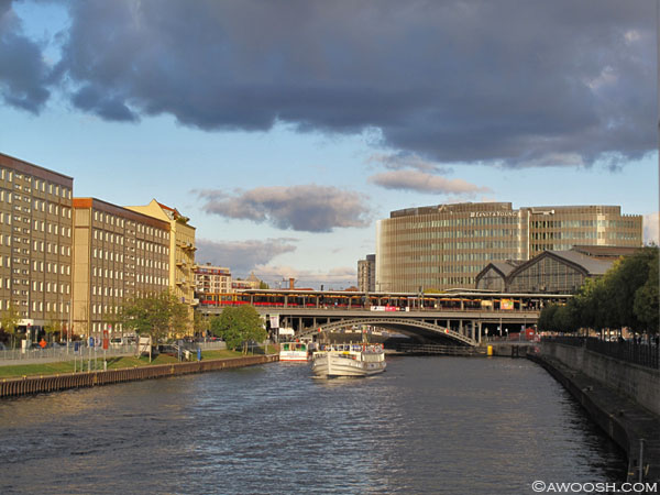View up the river to Fredreichstrasse train station.