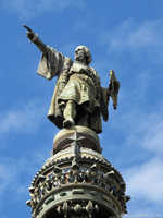 Christopher Columbus, pointing west to the new world.