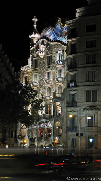 Gaudi's architecture at night.