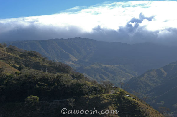 Treacherous mountain road to Monteverde & view to the Cloud Forest